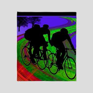Cycling Trio on Ribbon Road Throw Blanket