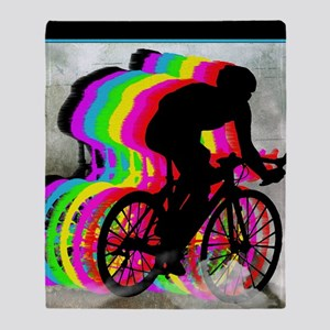 Cyclists Cycling in the Clouds Throw Blanket