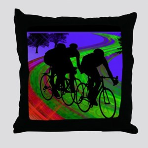 Cycling Trio on Ribbon Road Throw Pillow