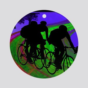 Cycling Trio on Ribbon Road Round Ornament