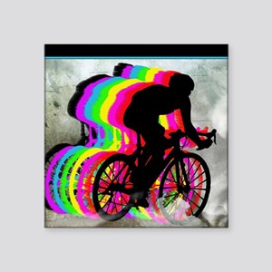 "Cyclists Cycling in the Clo Square Sticker 3"" x 3"""