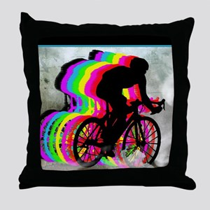 Cyclists Cycling in the Clouds Throw Pillow