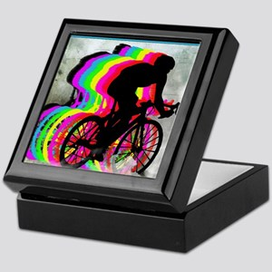 Cyclists Cycling in the Clouds Keepsake Box