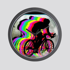 Cyclists Cycling in the Clouds Wall Clock