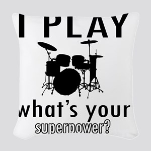 I play Drums Woven Throw Pillow