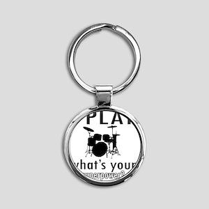 I play Drums Round Keychain