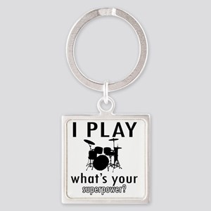 I play Drums Square Keychain