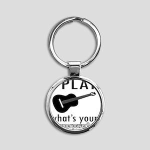 I play Guitar Round Keychain