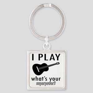 I play Guitar Square Keychain