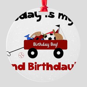 Little Red Wagon 2nd Birthday Round Ornament