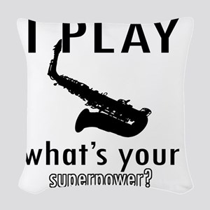 I play Saxophone Woven Throw Pillow