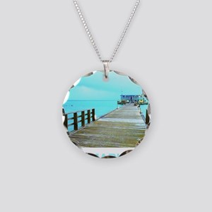 Cool Rod & Reel Pier Necklace Circle Charm