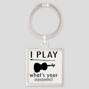 I play Violin Square Keychain