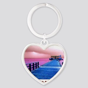Pink and blue Rod & Reel Pier Heart Keychain