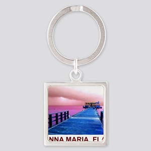 Pink and blue Rod & Reel Pier Square Keychain