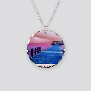 Pink and blue Rod & Reel Pie Necklace Circle Charm