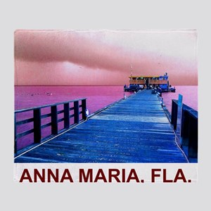 Pink and blue Rod & Reel Pier Throw Blanket