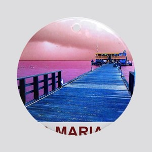 Pink and blue Rod & Reel Pier Round Ornament