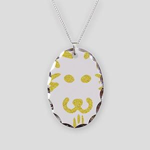Dog-o-Lantern pumpkin face 2 Necklace Oval Charm