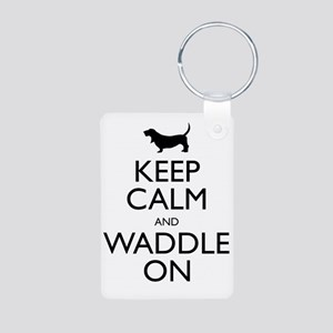 Keep Calm and Waddle On Aluminum Photo Keychain