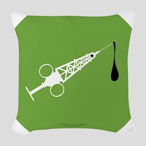 Hypo-Derrick (White/Green) Woven Throw Pillow