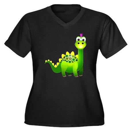 Green Punk D Women's Plus Size Dark V-Neck T-Shirt