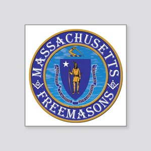 "Massachusetts Masons Square Sticker 3"" x 3"""