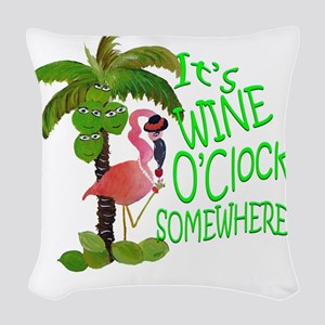 Its Wine OClock Somewhere Woven Throw Pillow