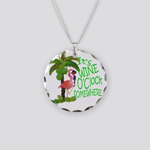 Its Wine OClock Somewhere Necklace Circle Charm