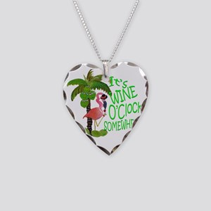 Its Wine OClock Somewhere Necklace Heart Charm