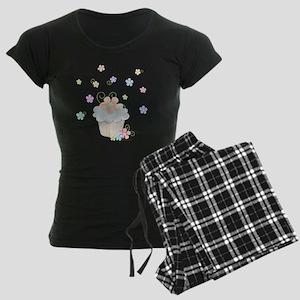 Cupcakes and Flowers Women's Dark Pajamas