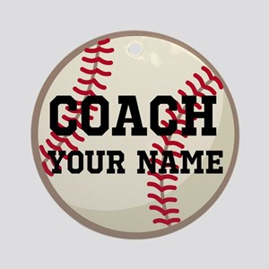 Personalized Baseball Coach Ornament (Round)
