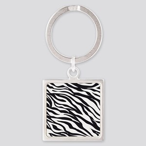 Zebra Animal Print Square Keychain