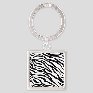 Zebra Animal Print Square Keychain
