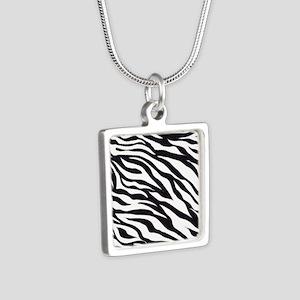 Zebra Animal Print Silver Square Necklace