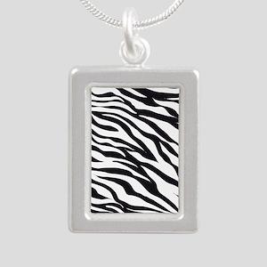 Zebra Animal Print Silver Portrait Necklace