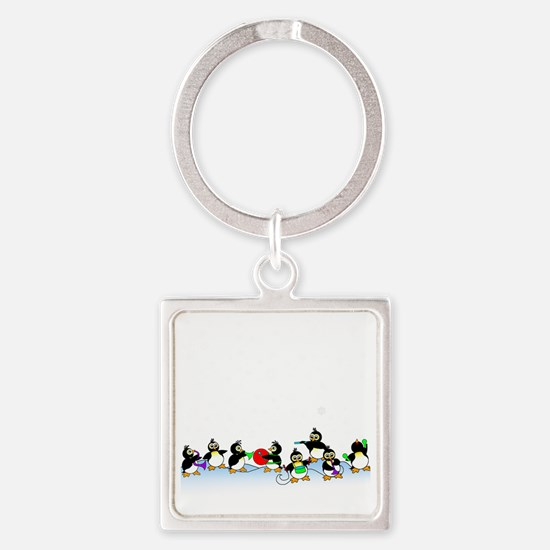 Penguin Band Square Keychain