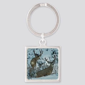 bucks in snow 3 Square Keychain