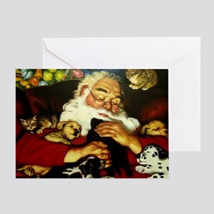 Santa And Puppies Print Greeting Card
