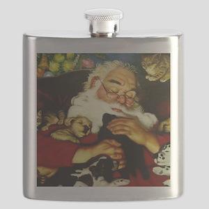 Santa And Puppies Print Flask