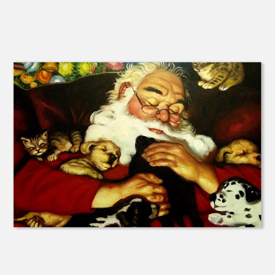 Santa And Puppies Print Postcards (Package of 8)