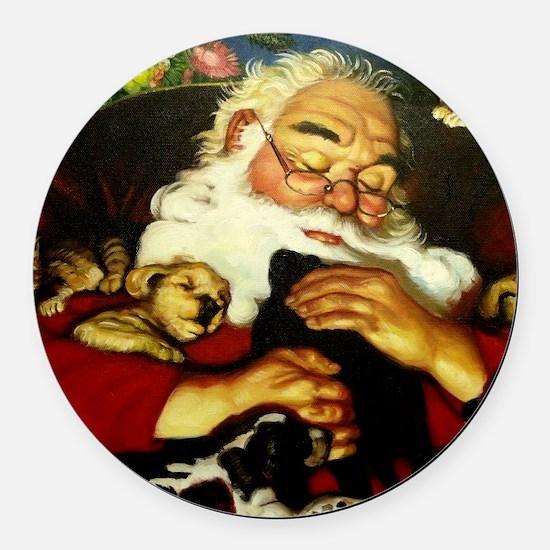 Santa And Puppies Print Round Car Magnet