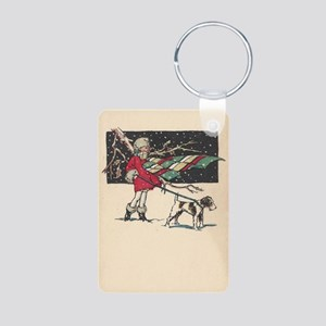 fox terrier holiday Aluminum Photo Keychain