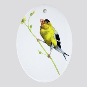 Yellow Finch - Get a Grip - Artwork  Oval Ornament