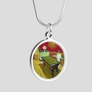Vincent Van Gogh Night Cafe Silver Round Necklace