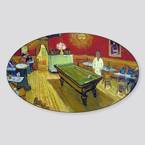 Vincent Van Gogh Night Cafe Sticker (Oval)