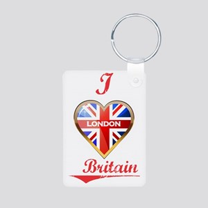 I Love London Aluminum Photo Keychain