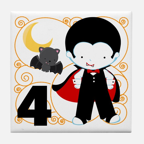 Boys Halloween 4 Tile Coaster