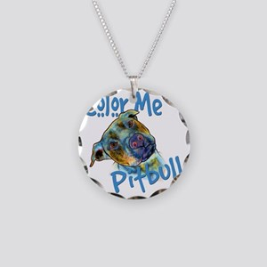 Color Me Pitbull Necklace Circle Charm