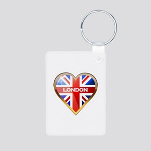 I Love Britain Aluminum Photo Keychain